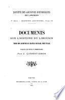 Documents sur l'histoire du Limousin