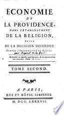 Economie de la Providence dans l'établissement de la Religion, suite de la Religion défendue