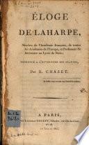 Eloge de [Jn. Franç.] de La Harpe, membre de l'Acad. fr