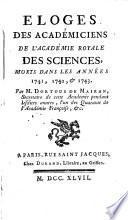 Éloges des académiciens de l'Académie royale des sciences, morts dans les années 1741, 1742 et 1743