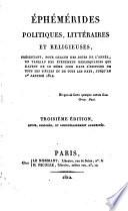 Ephémérides politiques, littéraires et religieuses