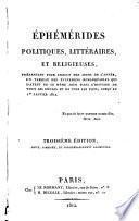 Ephémérides politiques, littéraires et religieuses, présentant pour chacun des jours de l'année