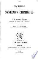 Équilibre des systèmes chimiques