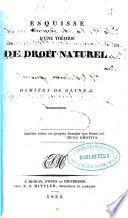 Esquisse dune théorie de droit naturel