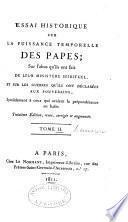 Essai historique sur la Puissance temporelle des Papes