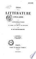Essai sur la littérature anglaise