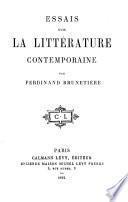 Essais sur la littérature contemporaine