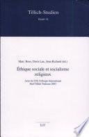 Ethique sociale et socialisme religieux