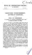 Etude sur l'enseignement et en particulier sur le programme des mathématiques dans la section des humanités des Athénées et des Collèges