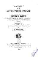 Étude sur un supplément inédit des mémoires de Richelieu