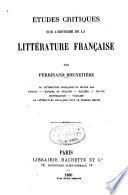 Études critiques sur l'histoire de la littérature franc̦aise