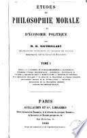 Études de philosophie morale et d'économie politique