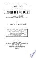 Études sur l'histoire du droit romain