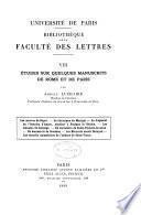 Études sur quelques manuscrits de Rome et de Paris