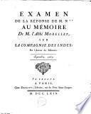Examen de la Réponse de M. N** [Necker] au Mémoire de M. l'abbé Morellet sur la Compagnie des Indes