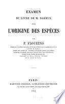 Examen du livre de M. Darwin sur l'origine des espèces