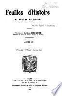 Feuilles d'histoire du xviie au xxe siècle