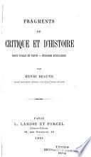 Fragments de critique et d'histoire