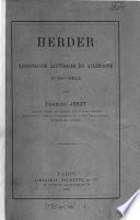Herder et la renaissance littéraire en Allemagne au xviiie siècle