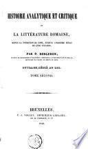Histoire analytique et critique de la littérature romaine
