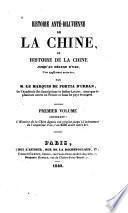 Histoire anté-diluvienne de la Chine, ou Histoire de la Chine jusqu'au déluge d'Yao, l'an 2298 avant notre ère