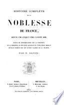 Histoire complète de la noblesse de France