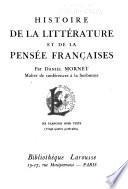 Histoire de la littérature et de la pensée françaises