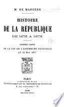Histoire de la république de 1876 à 1879
