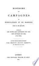 Histoire des campagnes de Hohenlinden et de Marengo