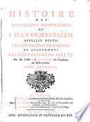 Histoire des chevaliers hospitaliers de S. Jean de Jerusalem