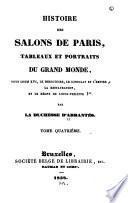 Histoire des salons de Paris: Salon de Madame de Montesson, à Paris et