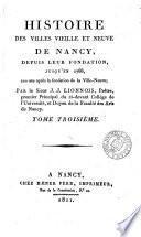 Histoire des villes vieille et neuve de Nancy