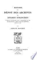 Histoire du dépot des Archives des Affaires Étrangères0