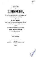 Histoire du Limbourg: Histoire du Limbourg. Codex diplomaticus Dalemensis