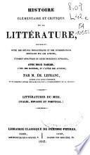 Histoire élémentaire et critique de la littérature