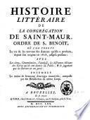 Histoire littéraire de la Congrégation de Saint Maur, ordre de Saint Benoît