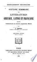 Histoire sommaire des littératures grecque, latine, et française