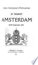 IIIe session Amsterdam, 20-29 septembre, 1927