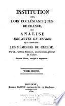 Institution aux lois esclésiastiques de France