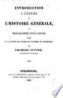 Introduction à l'étude de l'histoire générale