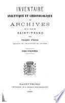 Inventaire analytique et chronologique des archives de la ville de Saint-Trond