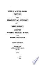 Inventaire des ordonnances des intendants de la Nouvelle-France [1705-1760]