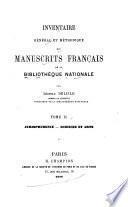Inventaire géneral et méthodique des manuscrits français de la Bibliothèque nationale: Jurisprudence. Sciences et arts