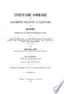 Inventaire sommaire des documents relatifs a l'histoire de Suisse