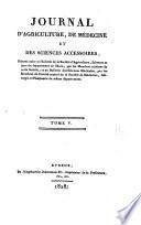 Journal d'agriculture, de médecine et des sciences accessiores