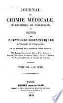 Journal de chimie medicale, de pharmacie, de toxicologie