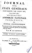 Journal des Et́ats généraux, convoqués par Louis XVI.