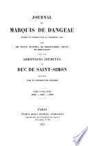 Journal publie en entier pour la premiere fois par Soulie ... avec les additions inedites du Duc de Saint-Simon publiees par Feuillet de Conches