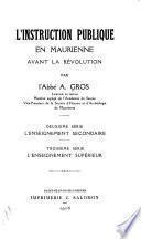 L'instruction publique en Maurienne avant la Révolution