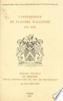 L'intendance de Flandre wallonne en 1698